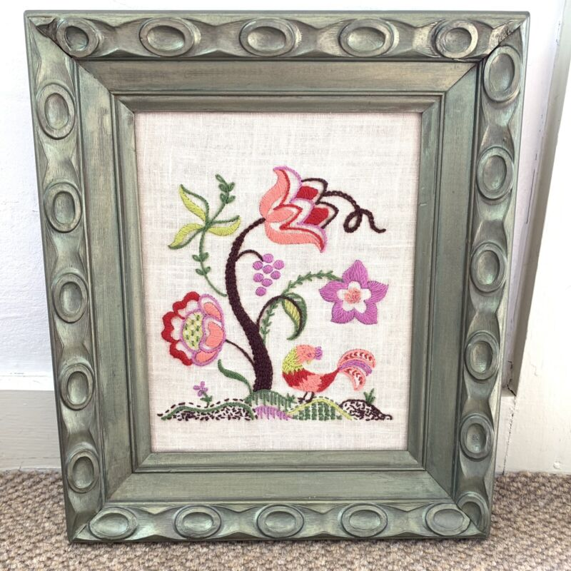 Vtg Crewel Embroidery Picture Boho Decor Pink Flowers Peacock Chunky Frame Euc