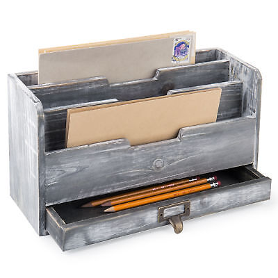 Mygift Rustic Gray Wood Desktop Mail Sorter With Pen Pencil Drawer