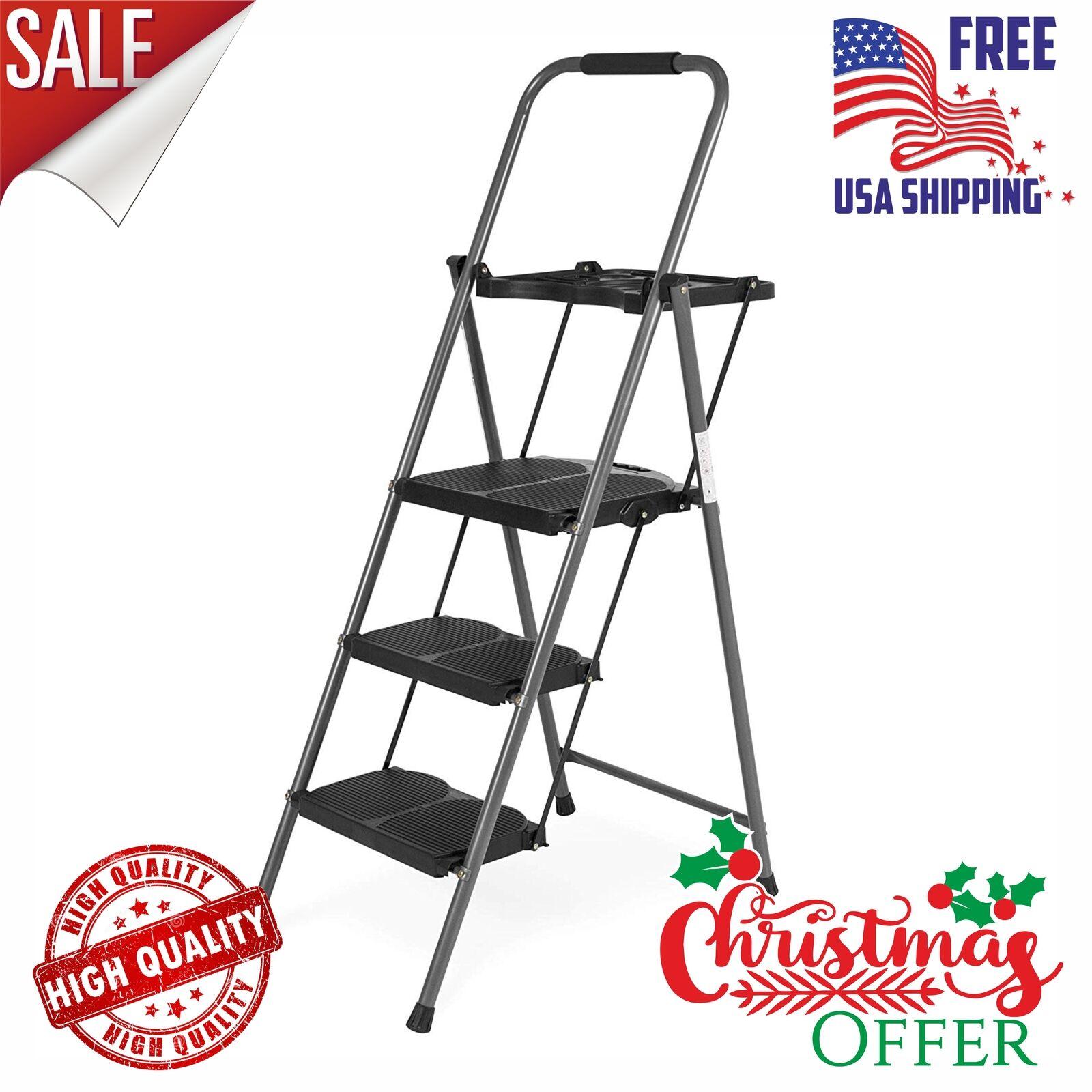 Best Choice Folding Steel 3-Step Stool Ladder Tool Equipment