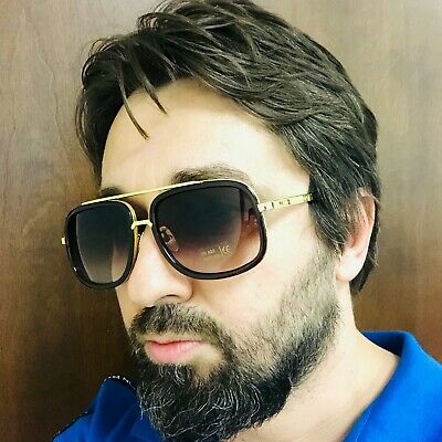 Men Sunglasses Designer Fashion New Mach Oversized Square Aviator Gold Metal (Gold Square Aviator Sunglasses)