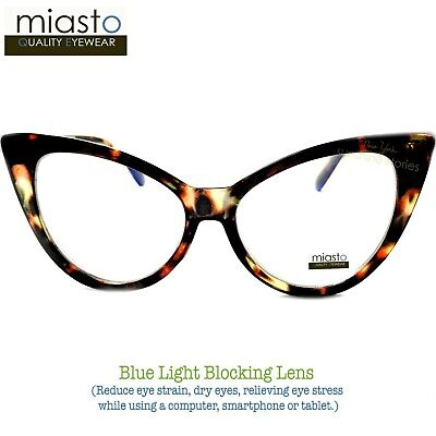 MIASTO BIG CAT EYE COMPUTER READER READING GLASSES +3.00 BROWN (ANTI-BLUE LIGHT)