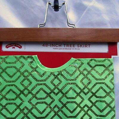 "Christmas Tree Skirt 48"" Lime Green Satin Geometric Glitter Merry Holiday Time"