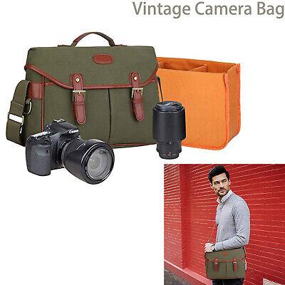 Man Canvas DSLR Vintage Camera Bag Shockproof Shoulder Messenger Travel Bag