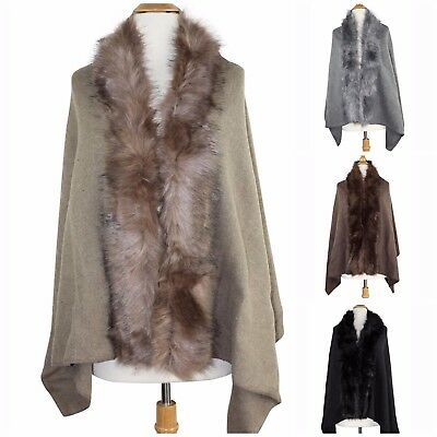 Women's Luxury Faux Fur Trim Cape Poncho Shawl Wrap Cloak Coat Sweater (Faux Fur Cape)