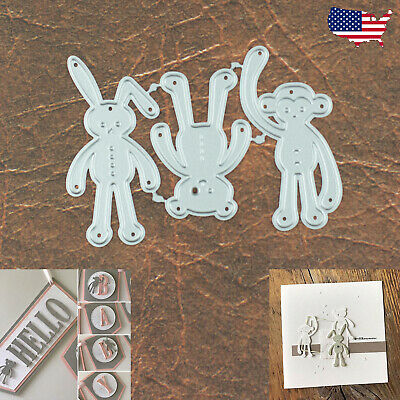 Baby Soft Toy Trio Cutting & Embossing Dies – Bunny Bear Monkey Stuffed Animals