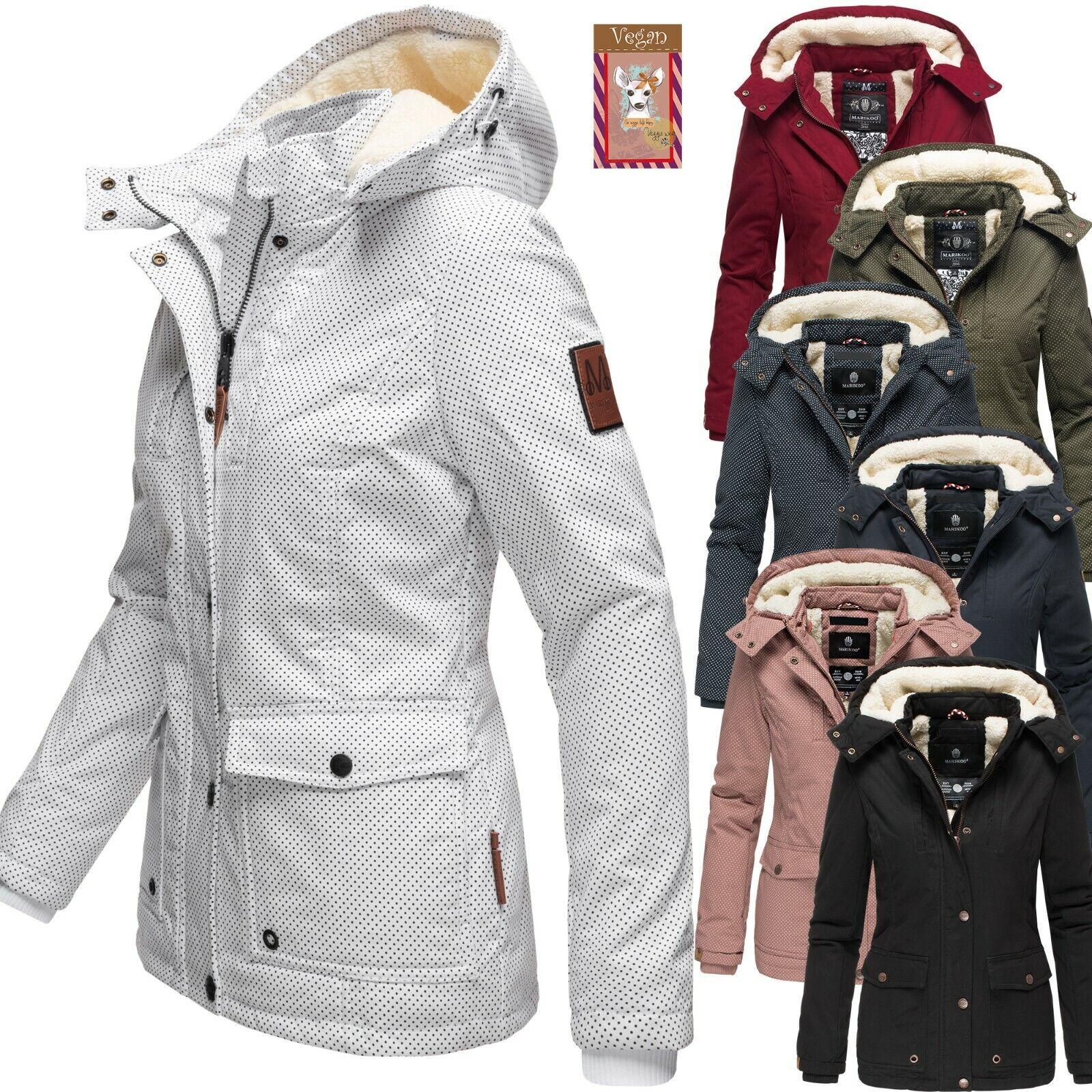 Marikoo Damen Jacke Winterjacke Kurz Mantel Kapuze Parka Print Teddyfell Keikoo