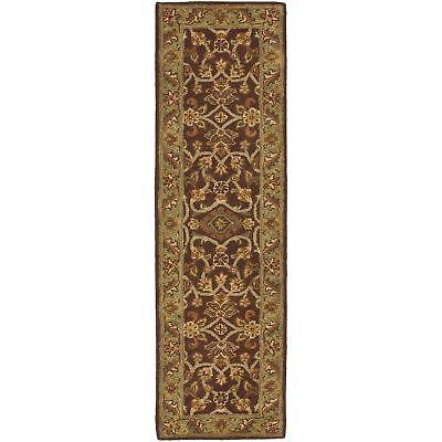 Safavieh Golden Jaipur RUST / GREEN Wool Runner  2' 3 x 14'