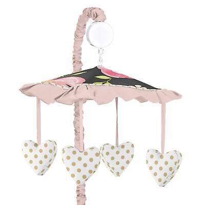 Sweet Jojo Black Blush Pink and Gold Watercolor Floral Musical Baby Crib Mobile