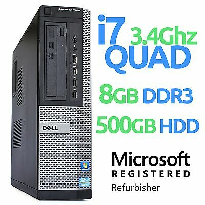 Dell Optiplex 7010 Desktop Quad Core i7 3770 3.4GHz 8GB 500GB Windows 10