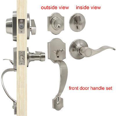 Entry Exterior Front Door Handle Set Brushed Nickel Lever Locked Deadbolt 3keys  Exterior Door Locks