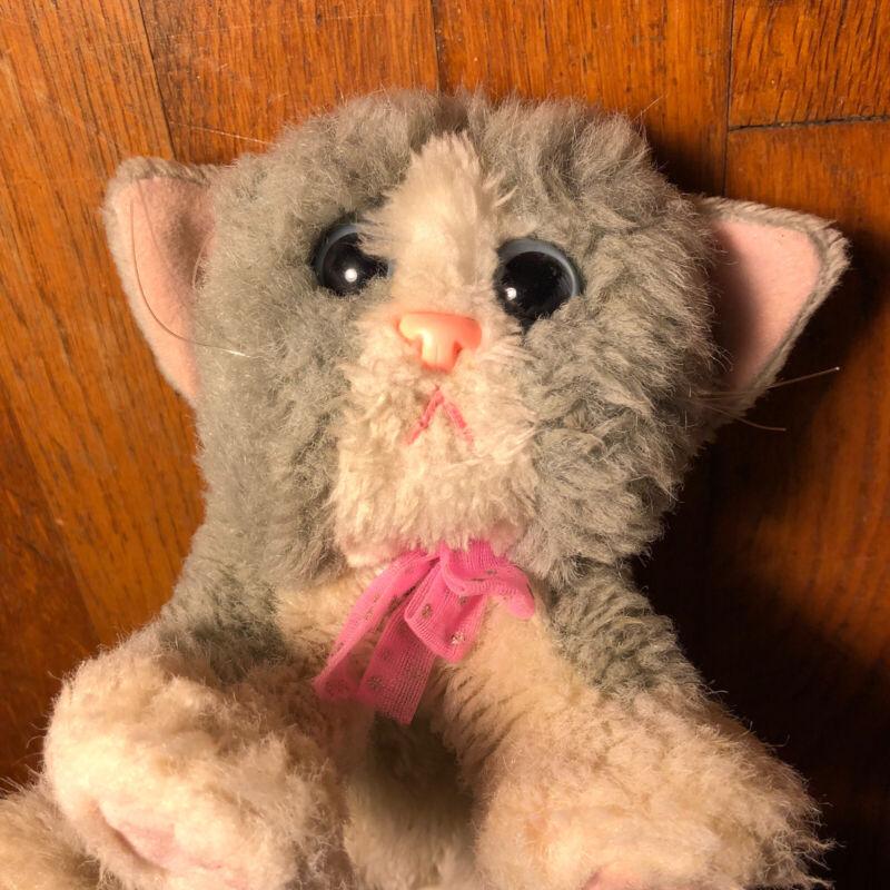 Vtg Kitty Kitty Kitten Plush Purr Gray Kittens Pink Bow Toys Cat
