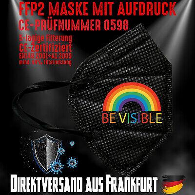 FFP2 Maske Mundschutz Mundmaske schwarz CE0598 Be Visible Rainbow LGBT Love