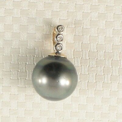 Genuine Baroque Black Tahitian Pearl & Diamonds 14k Gold Pendant TPJ ()