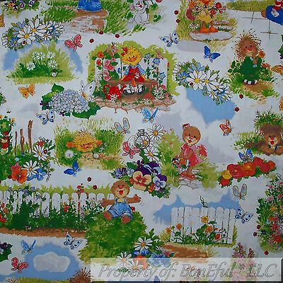 BonEful FABRIC FQ Cotton Quilt Suzy Zoo Book Rainbow Flower Duck Baby Girl (Toile Baby Girl)