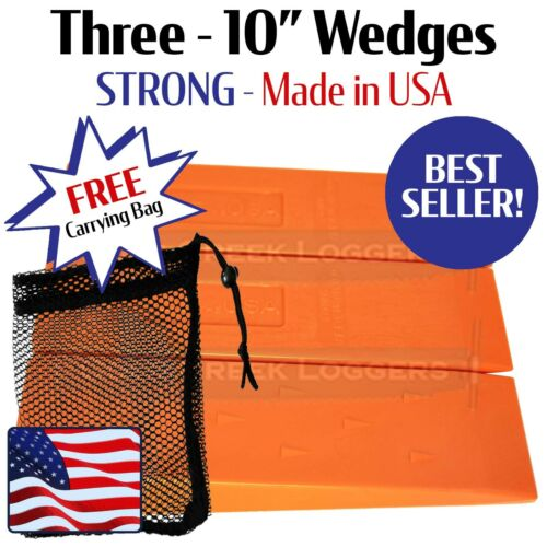 """3 - 10"""" USA HARD logging Felling Bucking Tree Forestry Falling Spiked Wedges"""