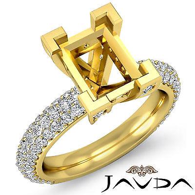 Emerald Semi Mount Ring - Emerald Semi Mount Pre-Set Diamond Engagement women's Ring 18k Yellow Gold 1.5Ct
