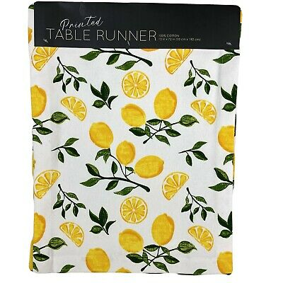 Lemon Printed Table Runner Cotton Canvas Fresh Spring Summer Design 13 x 72 New Printed Table Runner
