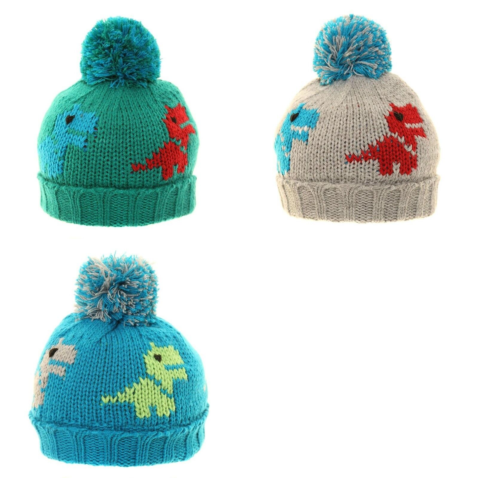 Knit Dinosaur Pattern : SKI WINTER HAT BOYS GIRLS CHUNKY KNIT DINOSAUR WOOLY WARM BEANIE POM POM KIDS...