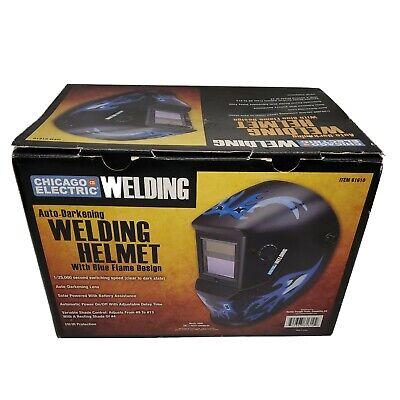 Chicago Electric Welding Helmet Blue Flame 61610 Auto-darkening Lens Mask Uvir