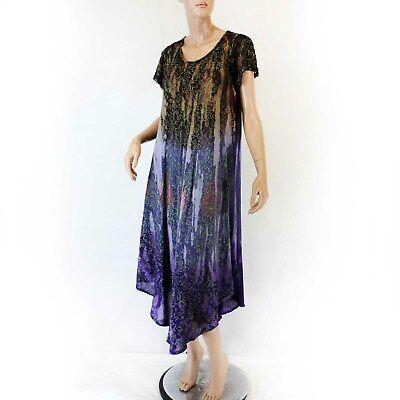 Advance Apparels Sundress Brown/Purple Floral Tie-Dye Dress O/S fits XL/1X ()