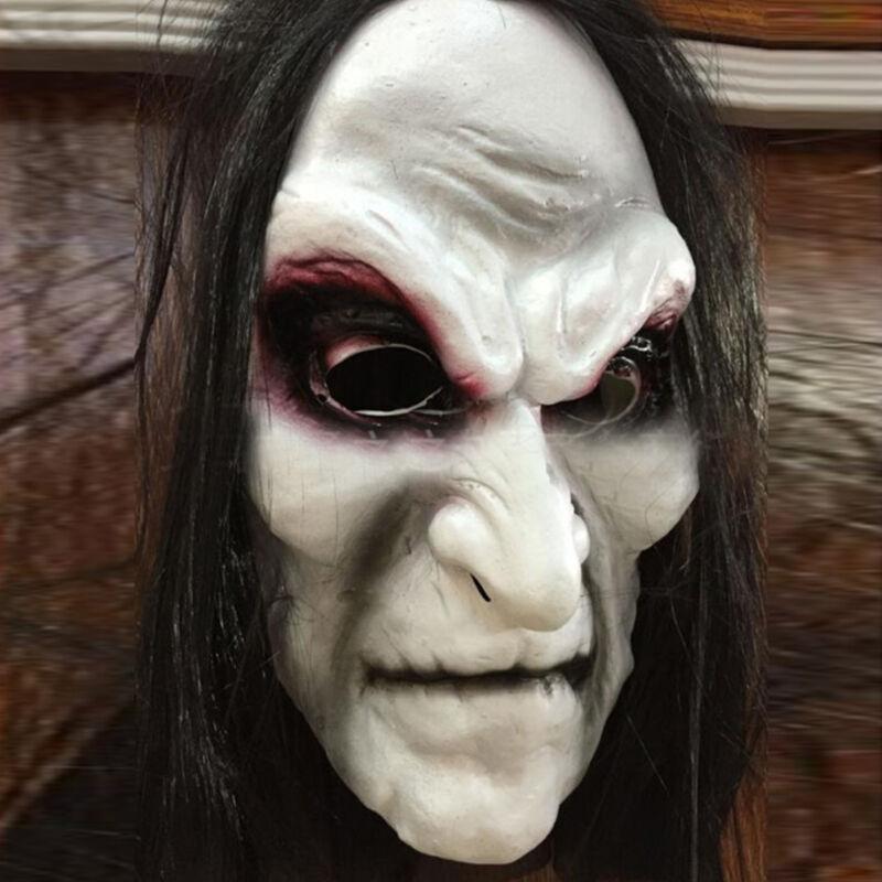Horror Halloween Masken Blutung Lang Haar Hexe Geist Karneval Vollgesichtsmaske