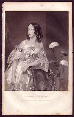 1850s Antique Lily Rosedale Portrait Walmsley Lady Fashion Art Engraving Print