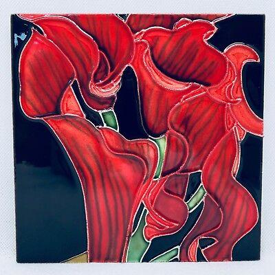 Tile Craft Decorative Tile - RED LILY - TC-T-1563D