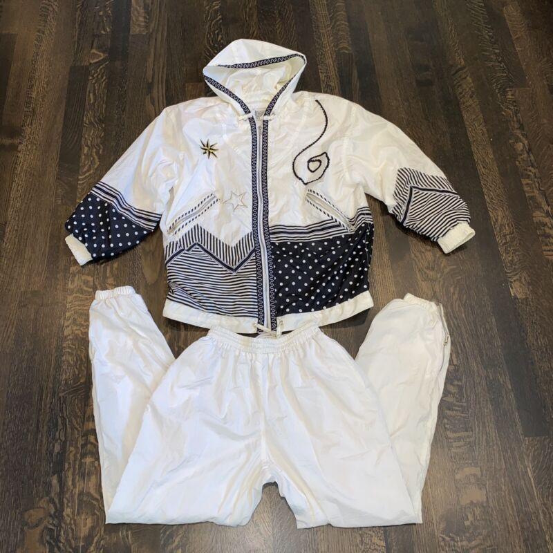 Vtg 80s 90s GIACCA Windbreaker TRACK SUIT Jacket Pants NYLON Fresh Womens SMALL
