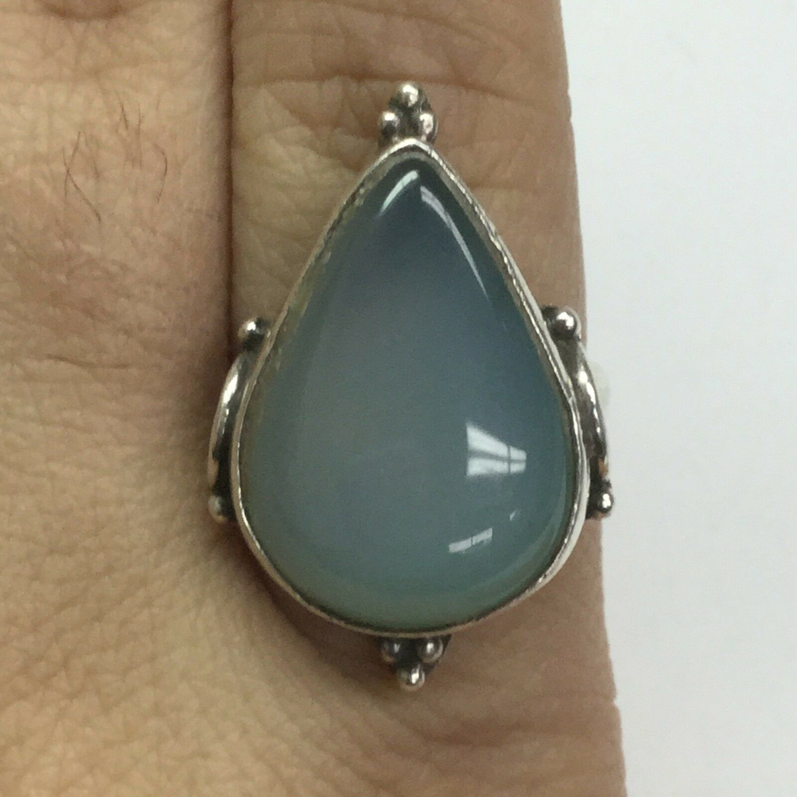 Vintage 925 Sterling Silver Ring With MoonStone Size 8 14