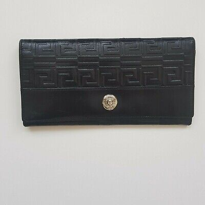 "Versace Womens Black Leather Long Wallet. Width 7"" Height 4"""
