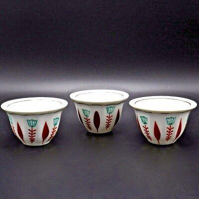 Lot of 3 Small Tea Sake Cups Porcelain China Teal Orange 1.5 Oz 1.75 In H Signed