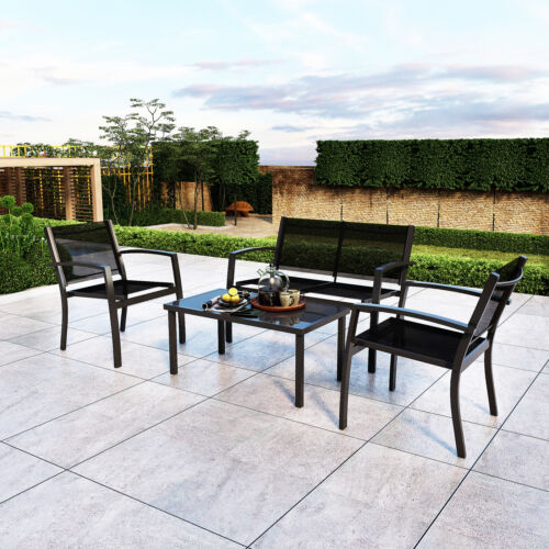 Garden Furniture - 4 Piece Garden Furniture Set Sofa Chairs Rectangular Table Patio Outdoor Black