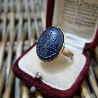SCARAB STERLING SILVER RING, GOLD OVER, LARGE CARVED SCAPOLITE, SIZE S US 9