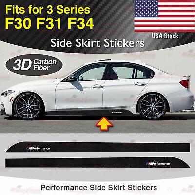 For BMW F30 F31 F34 3 Series M Performance Side Skirt 3D CARBON FIBER Sticker US