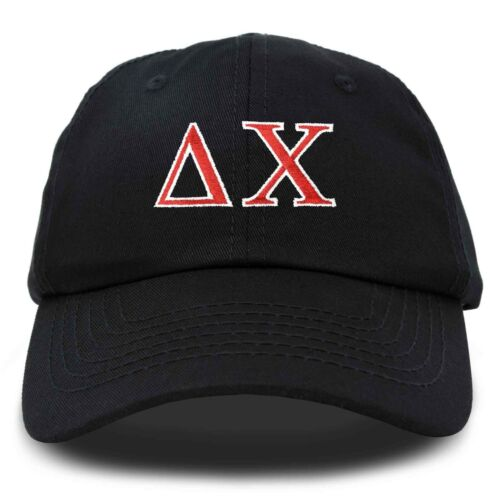Delta Chi Fraternity Greek Letters Ball Cap Embroidered Hat Black