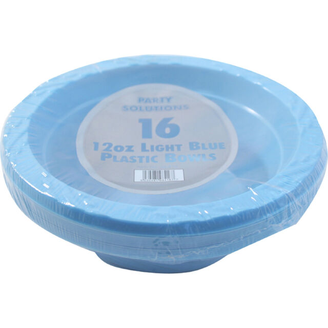 12 x BLUE PLASTIC BOWLS 12oz DISPOSABLE PARTIES PARTY SUPPLIES TABLEWARE WEDDING