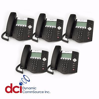 Refurbished 5 Pack Of Polycom Soundpoint Ip 450 Telephones Poe Free Shipping