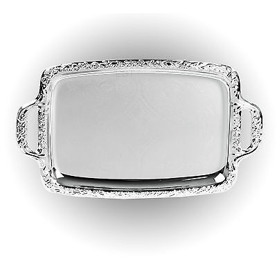 Silver Effect Serving Tray Platter Mirror Polished Table Met