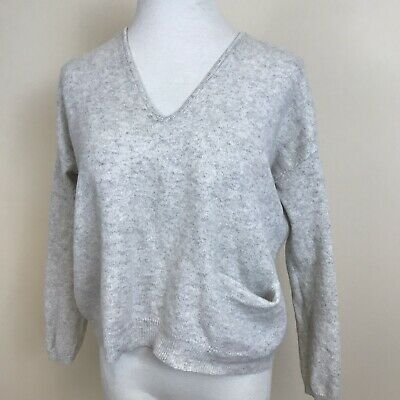 Jac + Jack Gray Cashmere Sweater Boxy Short Long Sleeves Sz Small
