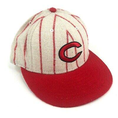American Needle Wool Hat - Vintage Cincinnati Reds American Needle Fitted Hat Cap Wool Ivory Red Pinstripes