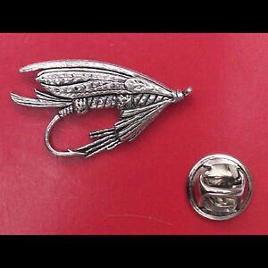 English Pewter Fishermans Fishing Fly Pin Badge Tie Pin / Lapel Badge
