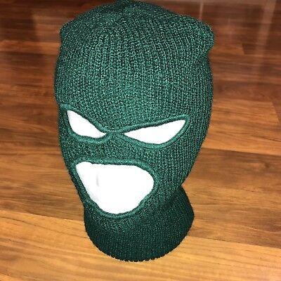 NEW Vtg 70s 80s Green SKI MASK Robber beanie Apres Gaper ACRYLIC Snow Hat NOS