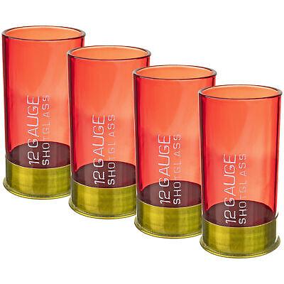 12 Gauge Shotgun Shell Shot Glass Set of Four Novelty Gag Gift Party Bar Item Barware