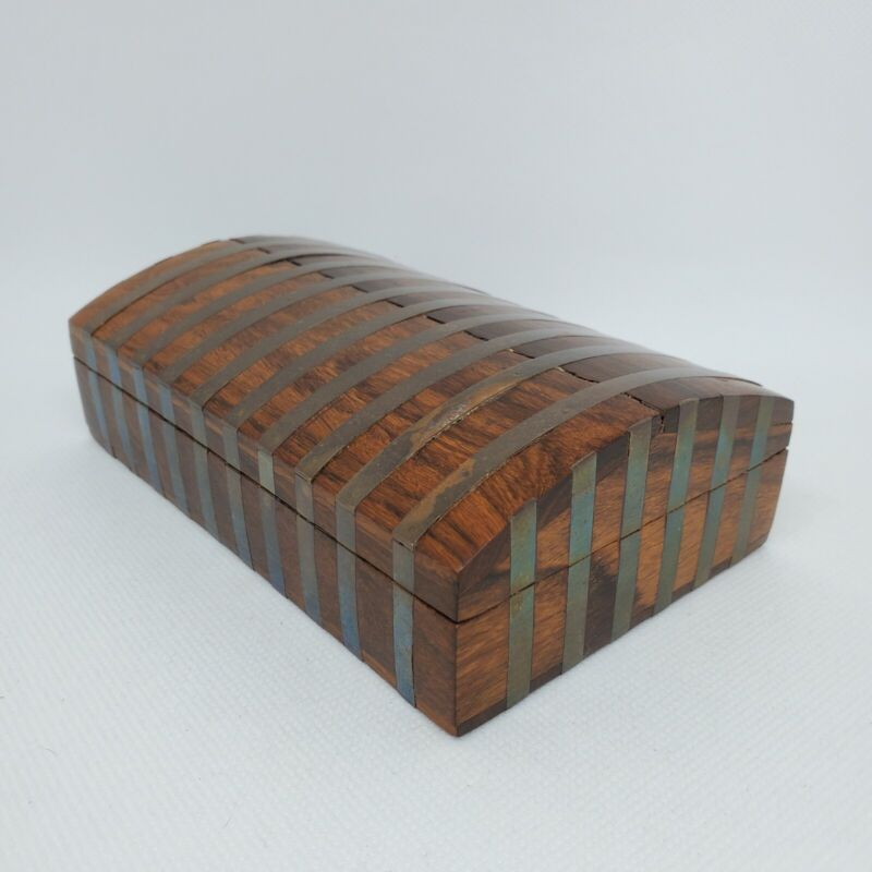 """Wooden Trinket Box Inlaid with Brass Striped Pattern Domed Lid Made in India 6""""l"""