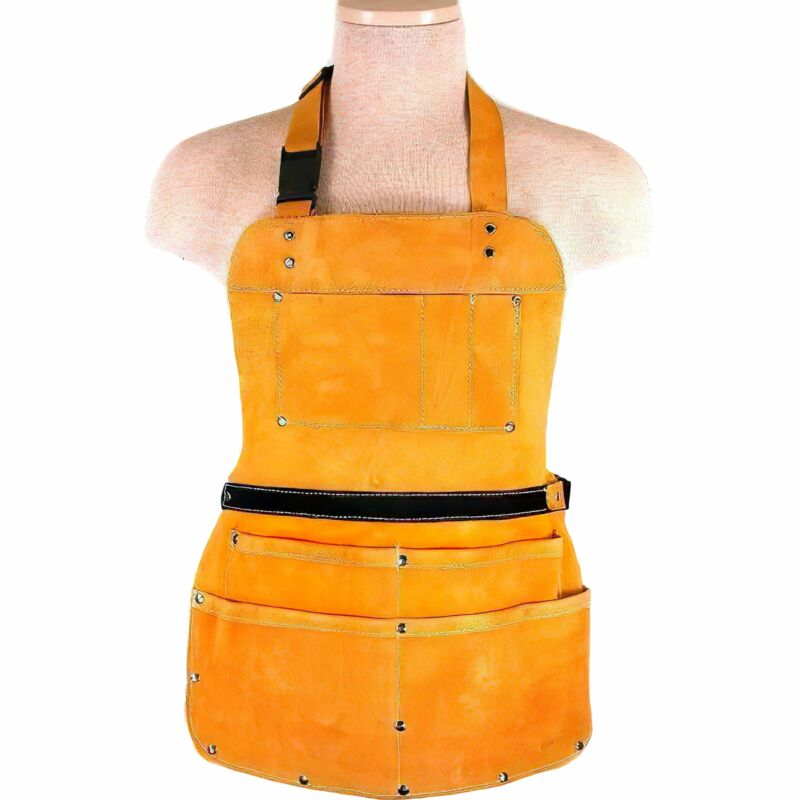 7 Pocket Leather Bib Apron Heavy Duty Welders Blacksmiths Workshop Jewelers Tool