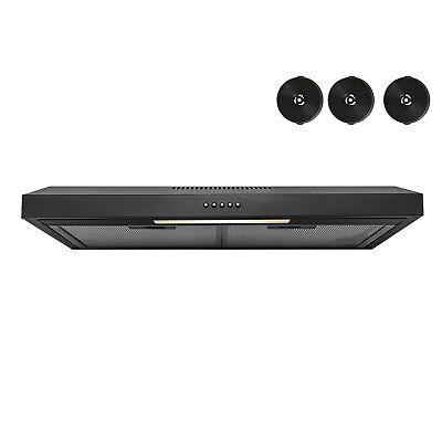 "30"" Under Cabinet Black Stainless Steel Push Control Kitchen Range Hood Filters"