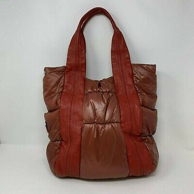 B. Makowsky Red Nylon Leather Bag Shoulder Bag Handbag Tote Purse