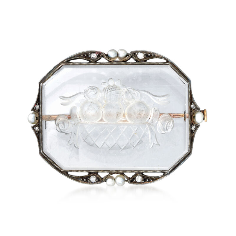 Vintage Rock Crystal Fruit Bowl Pin with Diamonds & 2.7mm Cultured Pearls in