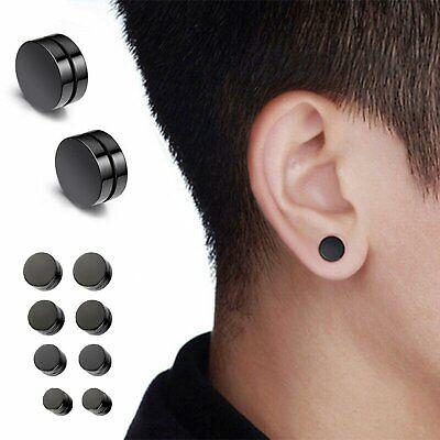 Men Women Stainless Steel Stud Earrings Magnetic Ear Plugs Non-Piercing Clip On Earrings