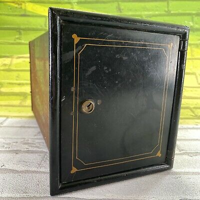 Antique Bank Safety Deposit Metal Box Wall Safe With Two Drawers No Key